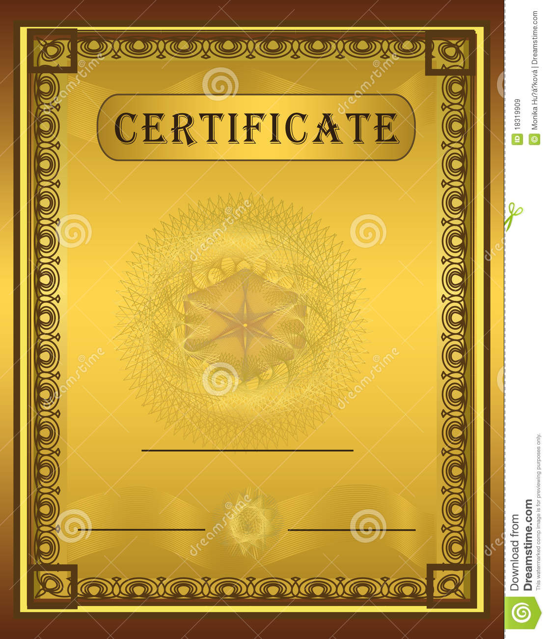 Certificate Gold Frame Vertical Stock Vector ...
