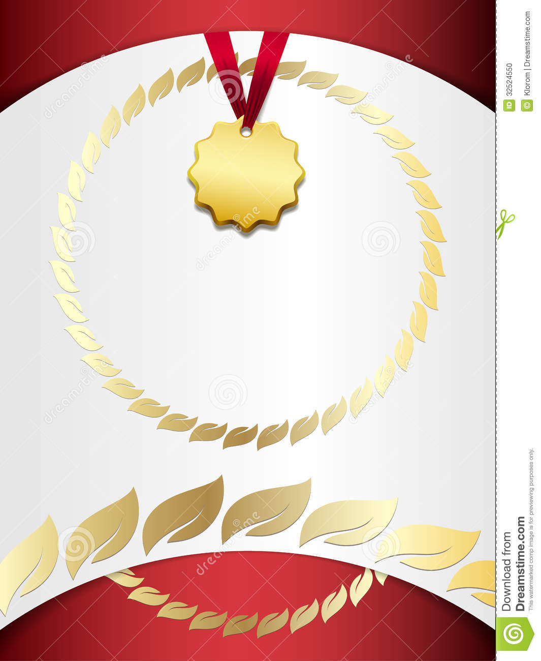 Certificate With A Gold Medal Stock Photo - Image: 32524550