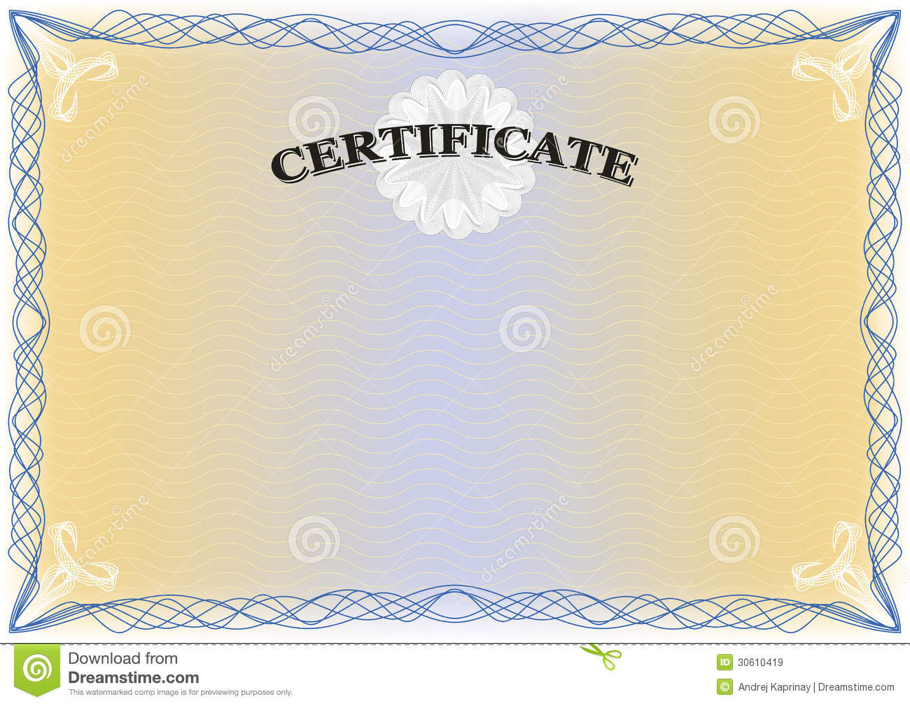 Beautiful Certificate with detailed complex blue border, yellow ...