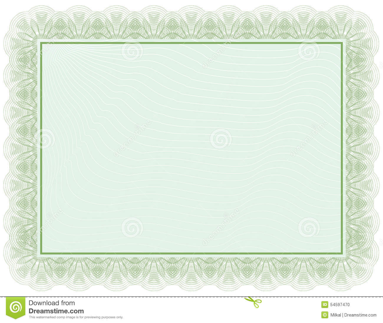 Certificate Green Document Stock Vector Image 54597470
