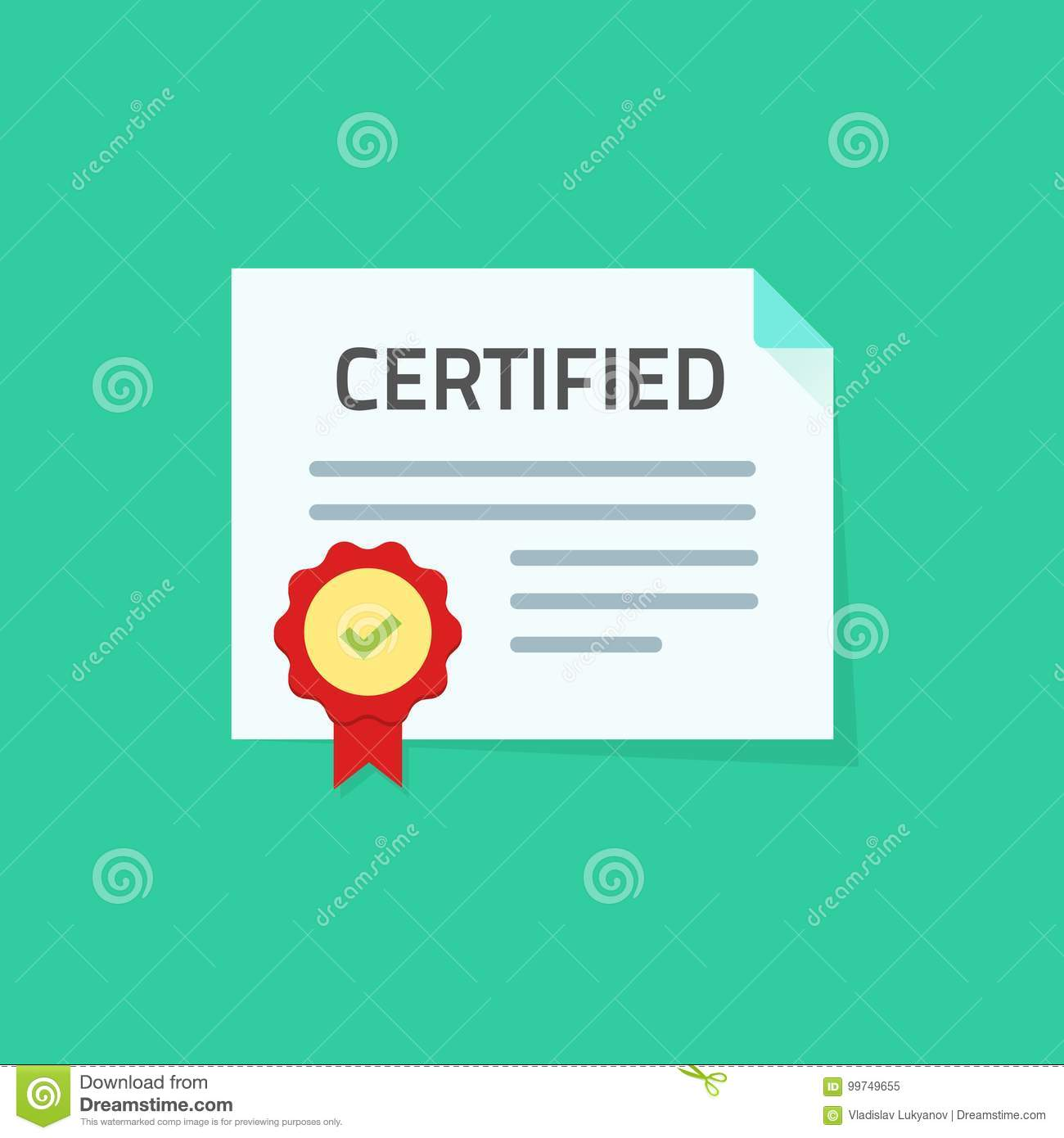 Certificate Icon Vector Illustration Flat Paper Document With Approved Seal Or Stamp And Certified