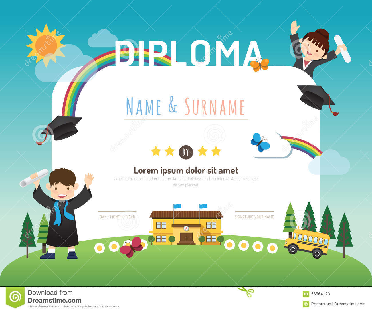 certificate kids diploma kindergarten template layout backgroun