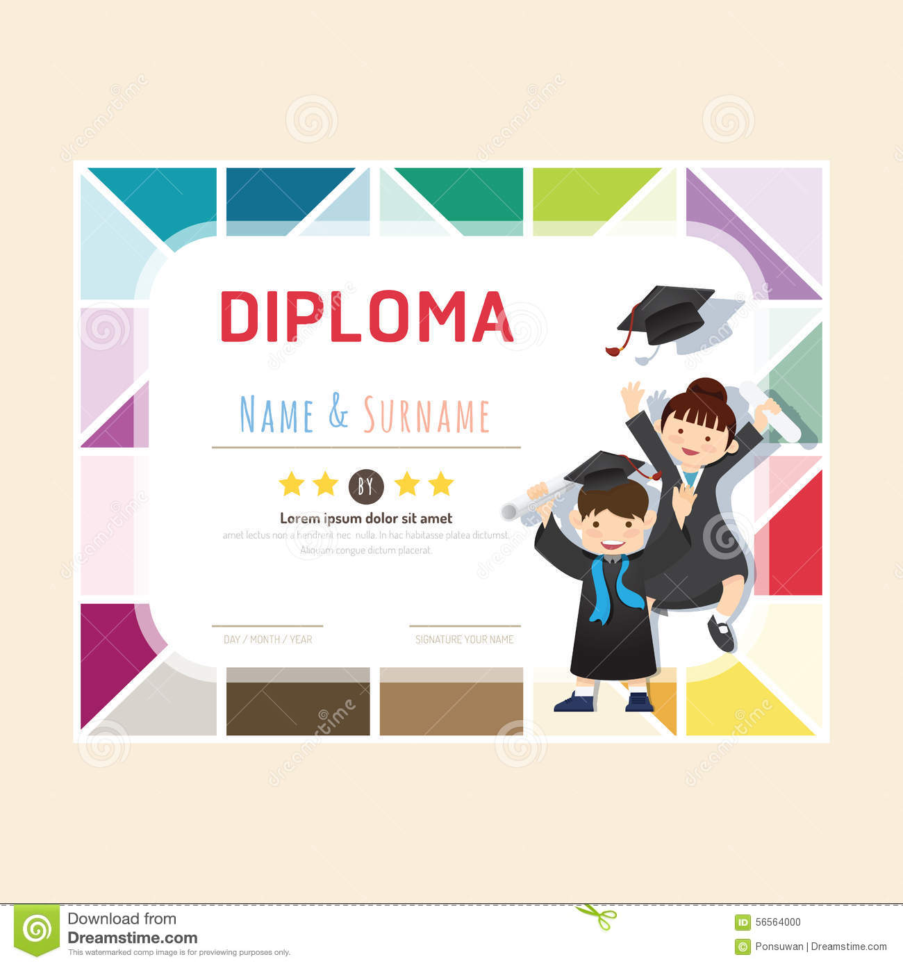 Certificate Kids Diploma, Kindergarten Template Layout Stock Vector ...