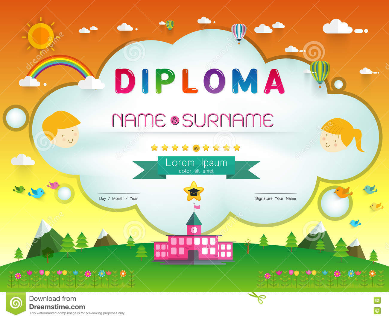 certificate kids diploma stock vector  illustration of
