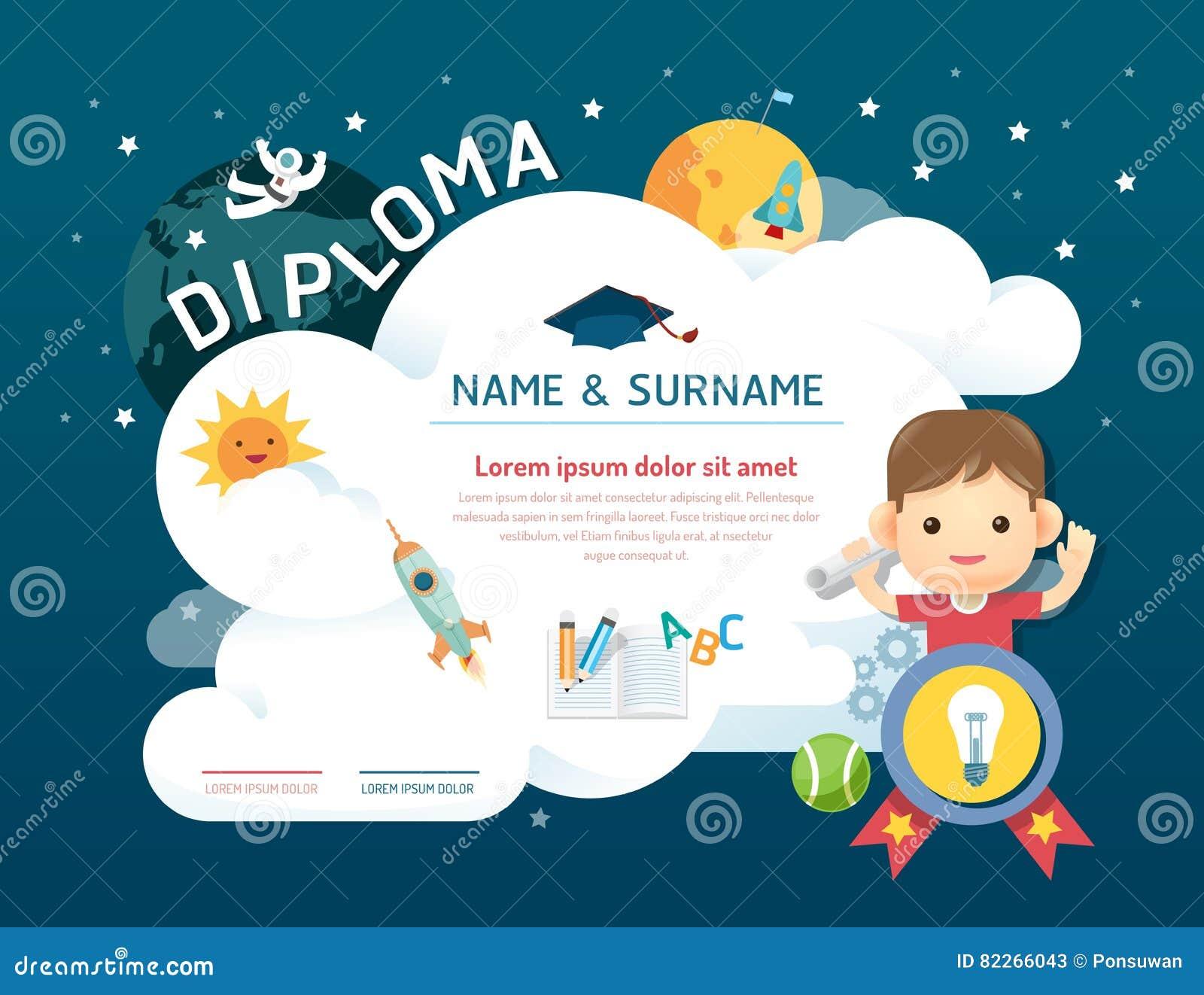 certificate kids diploma  kindergarten template layout space background frame design vector