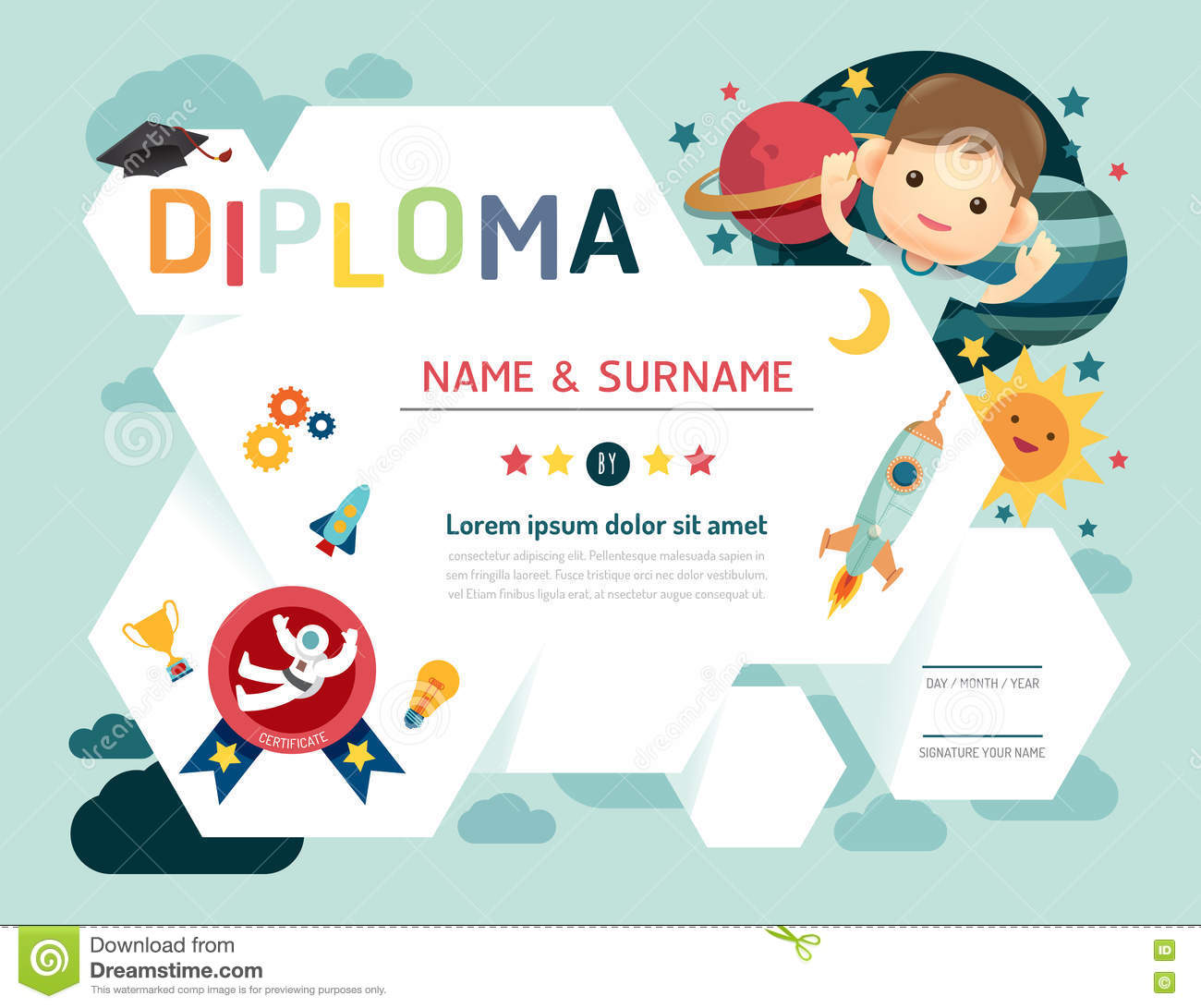 Certificate kids diploma kindergarten template stock vector certificate kids diploma kindergarten template yadclub Image collections