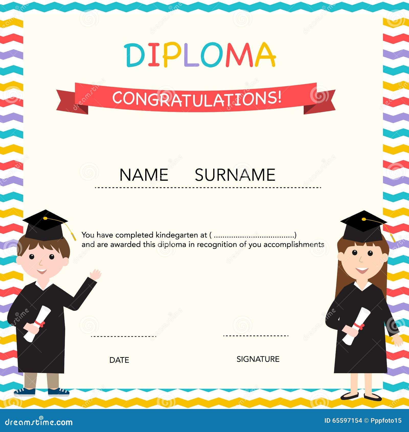 Certificate Of Kids Diploma Preschoolkindergarten