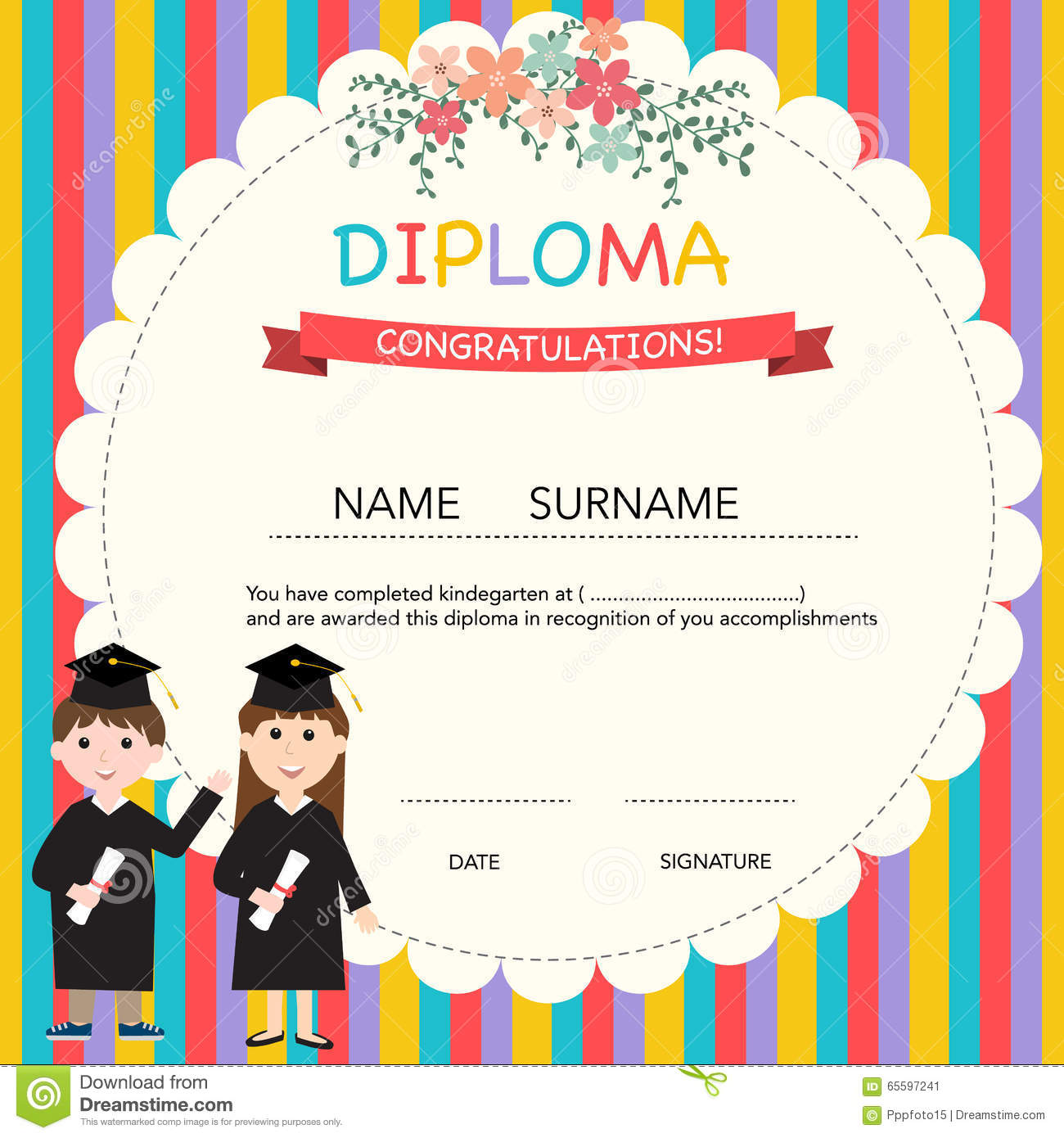 kindergarten certificate template for preschool graduation stock