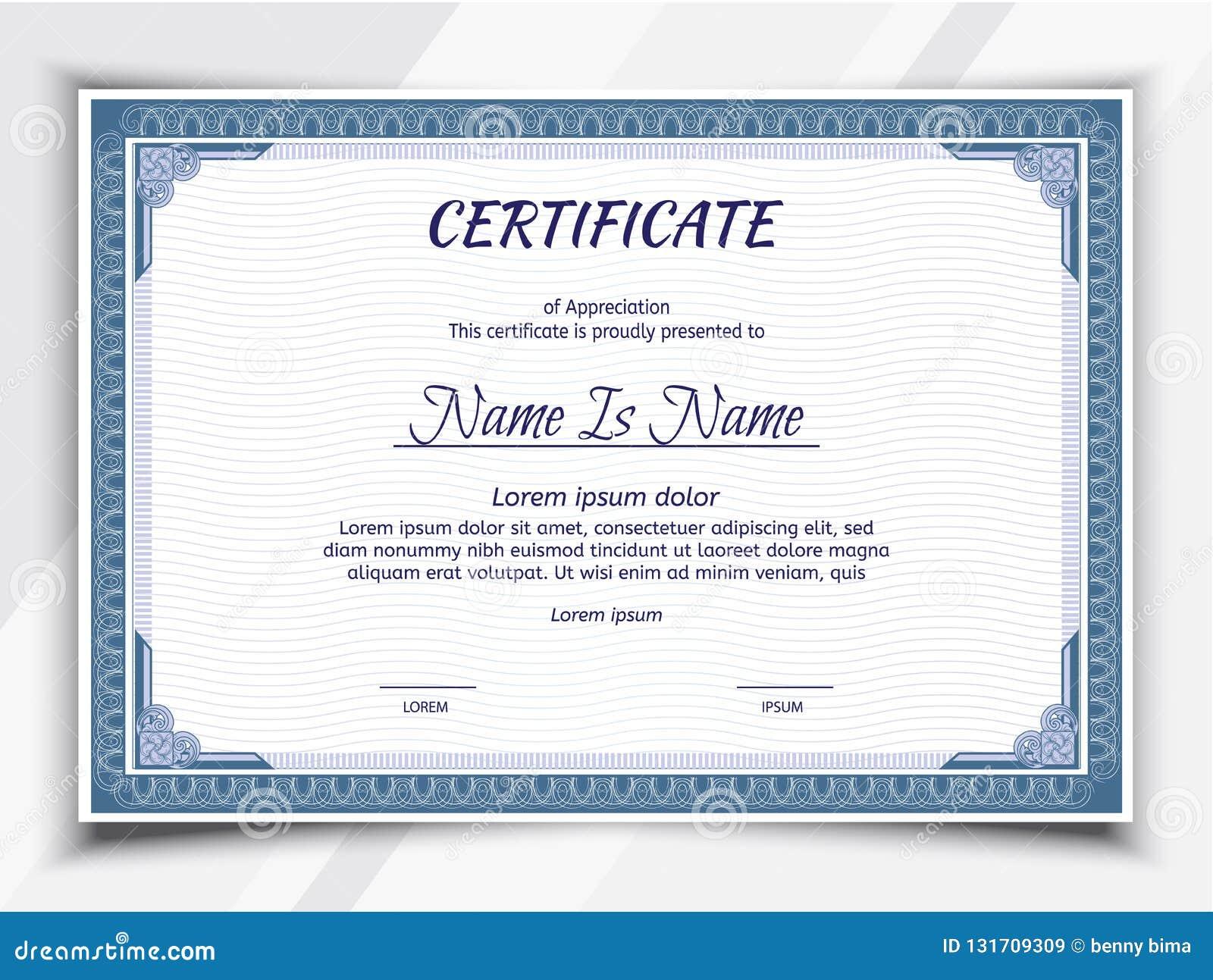 Certificate Landscape Template Stock Vector Illustration