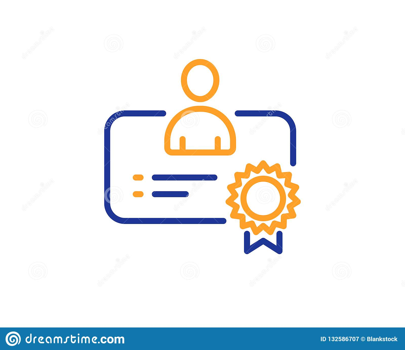 Certificate Line Icon Business Management Sign Vector Stock Vector