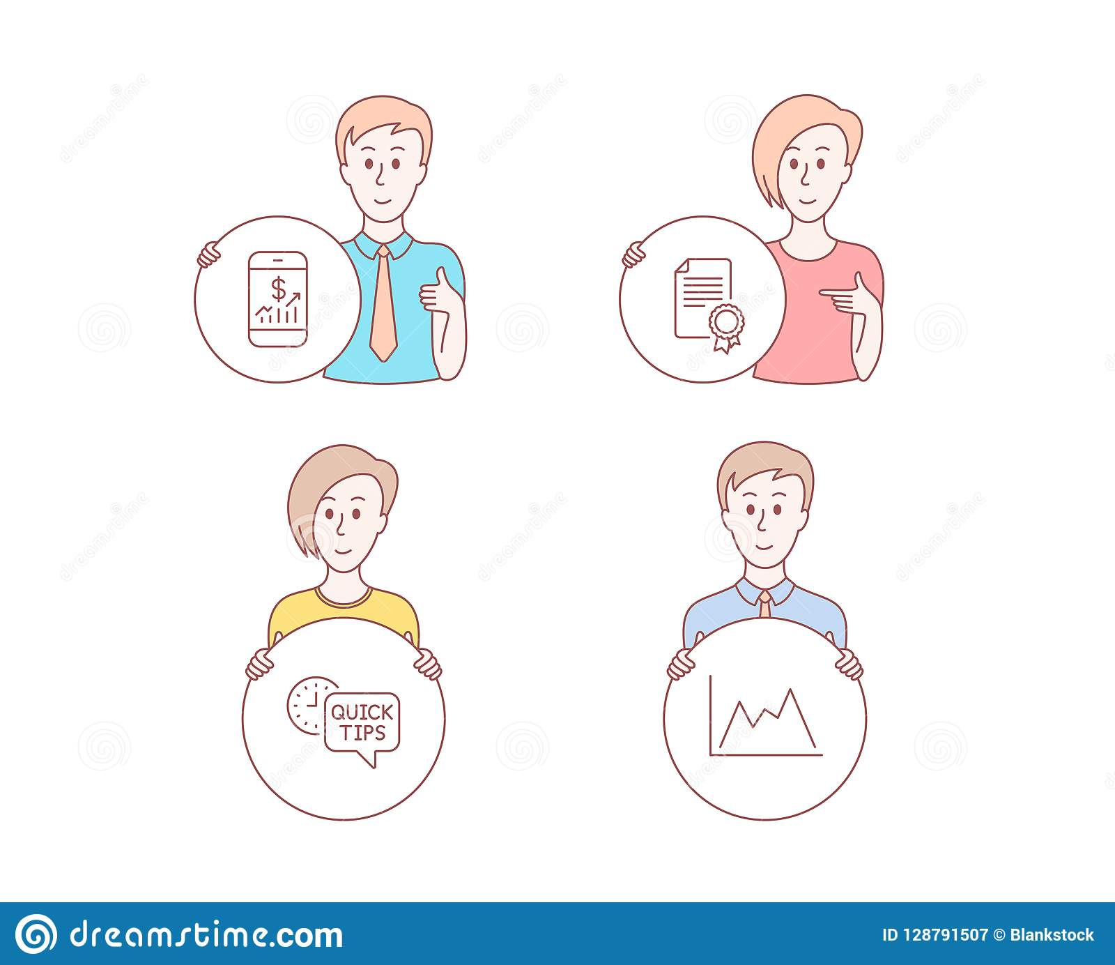 Certificate, Mobile Finance And Quick Tips Icons  Diagram