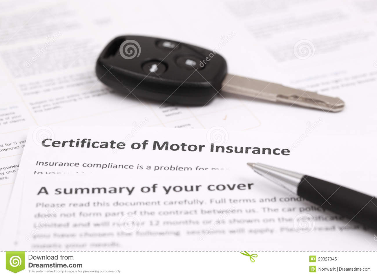 Certificate Of Motor Insurance Royalty Free Stock Photo