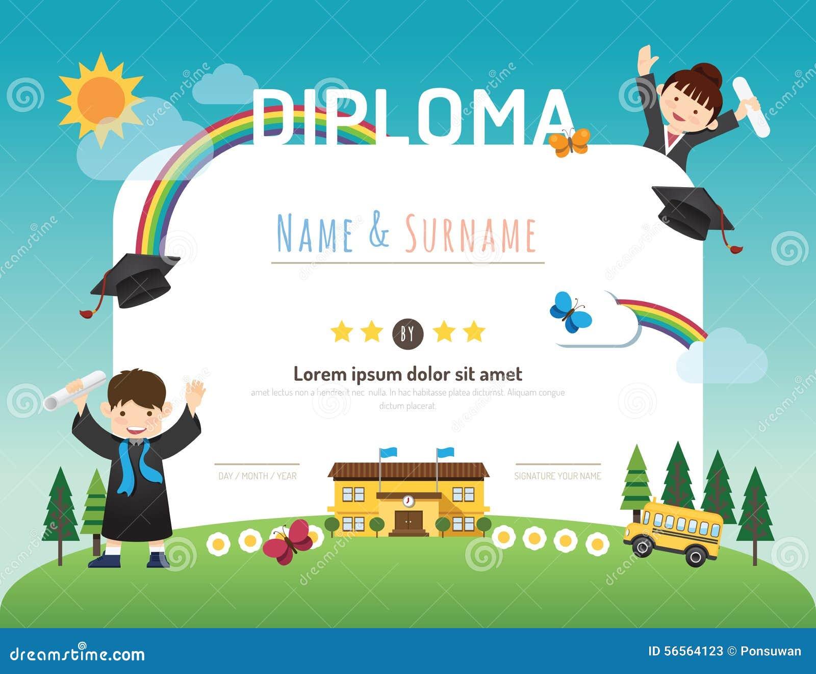 Certificate o diploma das crianças, backgroun da disposição do molde do jardim de infância