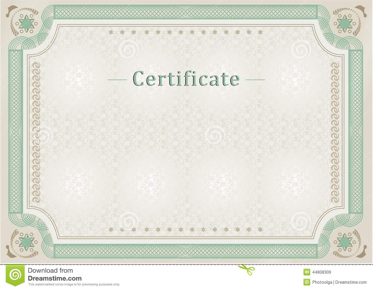 Certificate. Official Document. Official Border. Stock ...