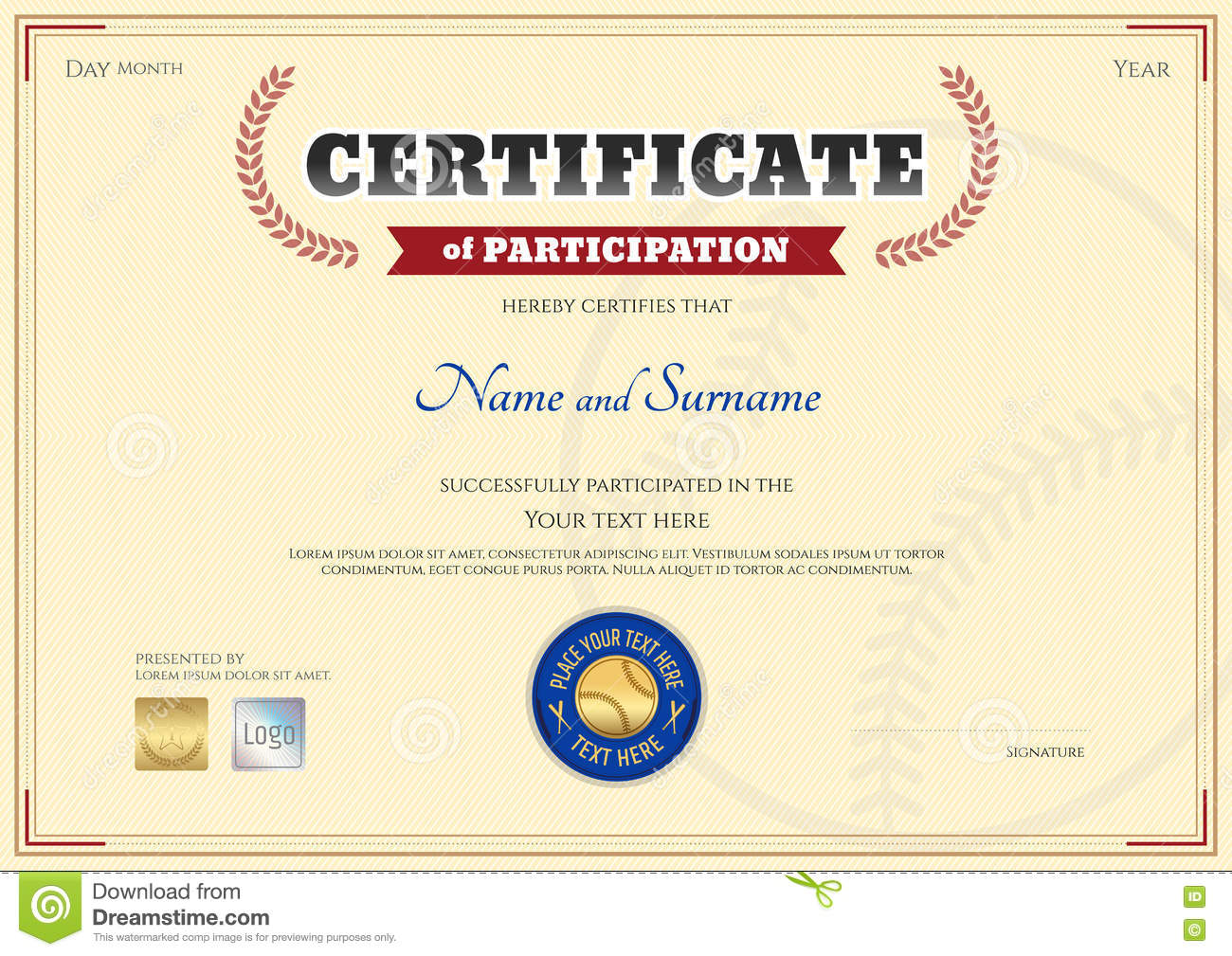Certificate Of Participation Template In Baseball Sport Theme Royalty Free  Stock Image  Certificate Of Participation Template