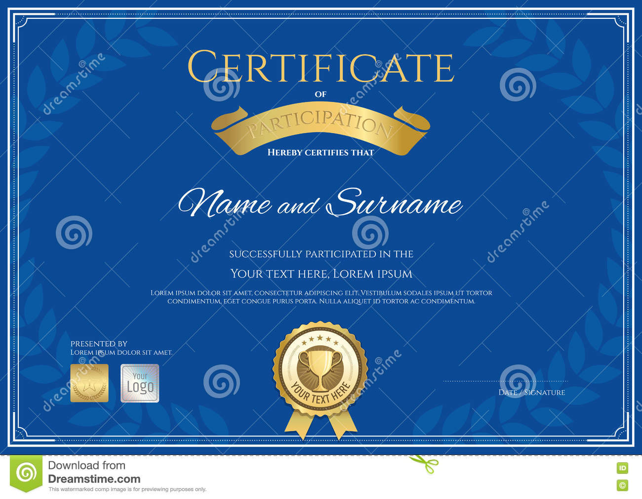 award certificate template free download - certificate of participation template in gold color vector