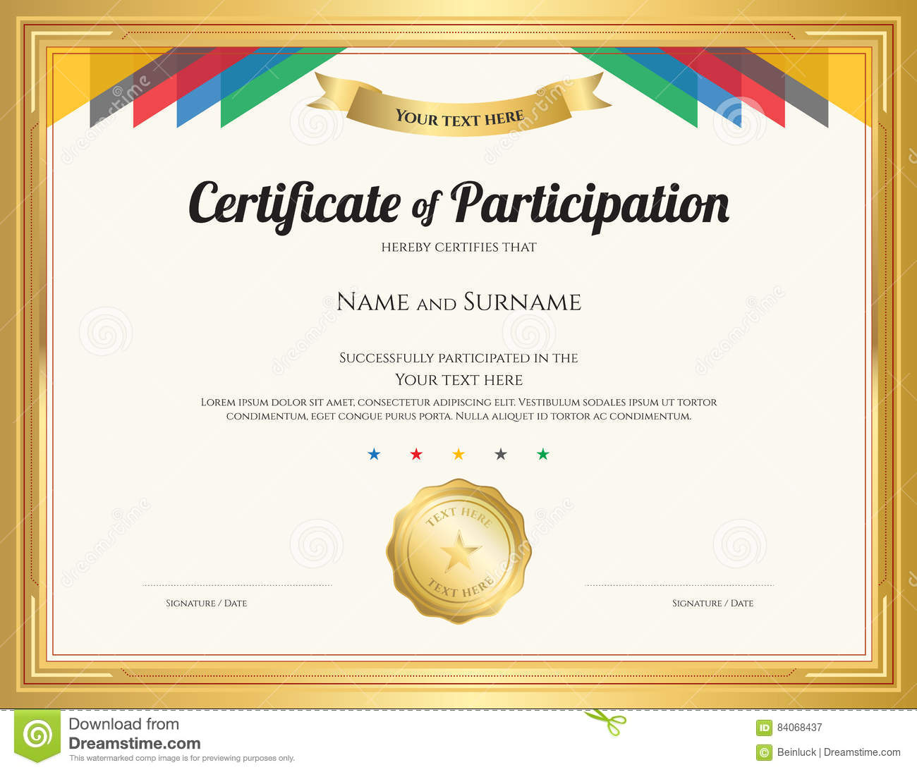 Certificate Of Participation Template With Gold Border Stock Vector