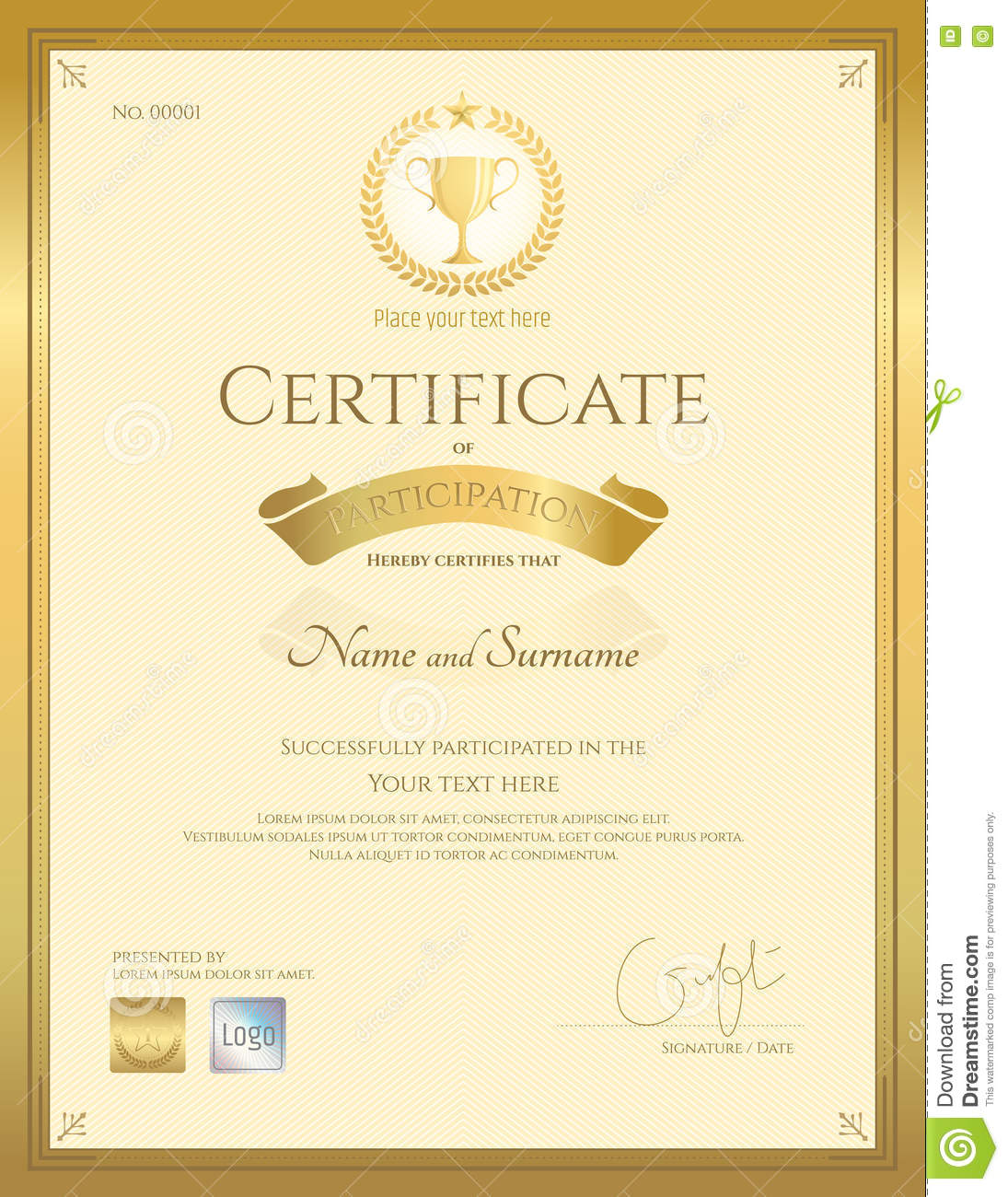 Certificate Of Participation Template In Gold Color  Award Paper Template