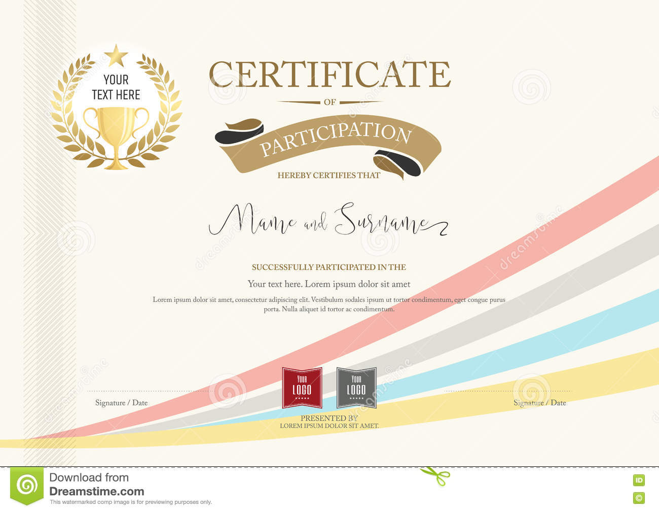 Certificate Of Participation Template With Golden Award Laurel Illustration  79633039   Megapixl  Certificate Of Participation Template