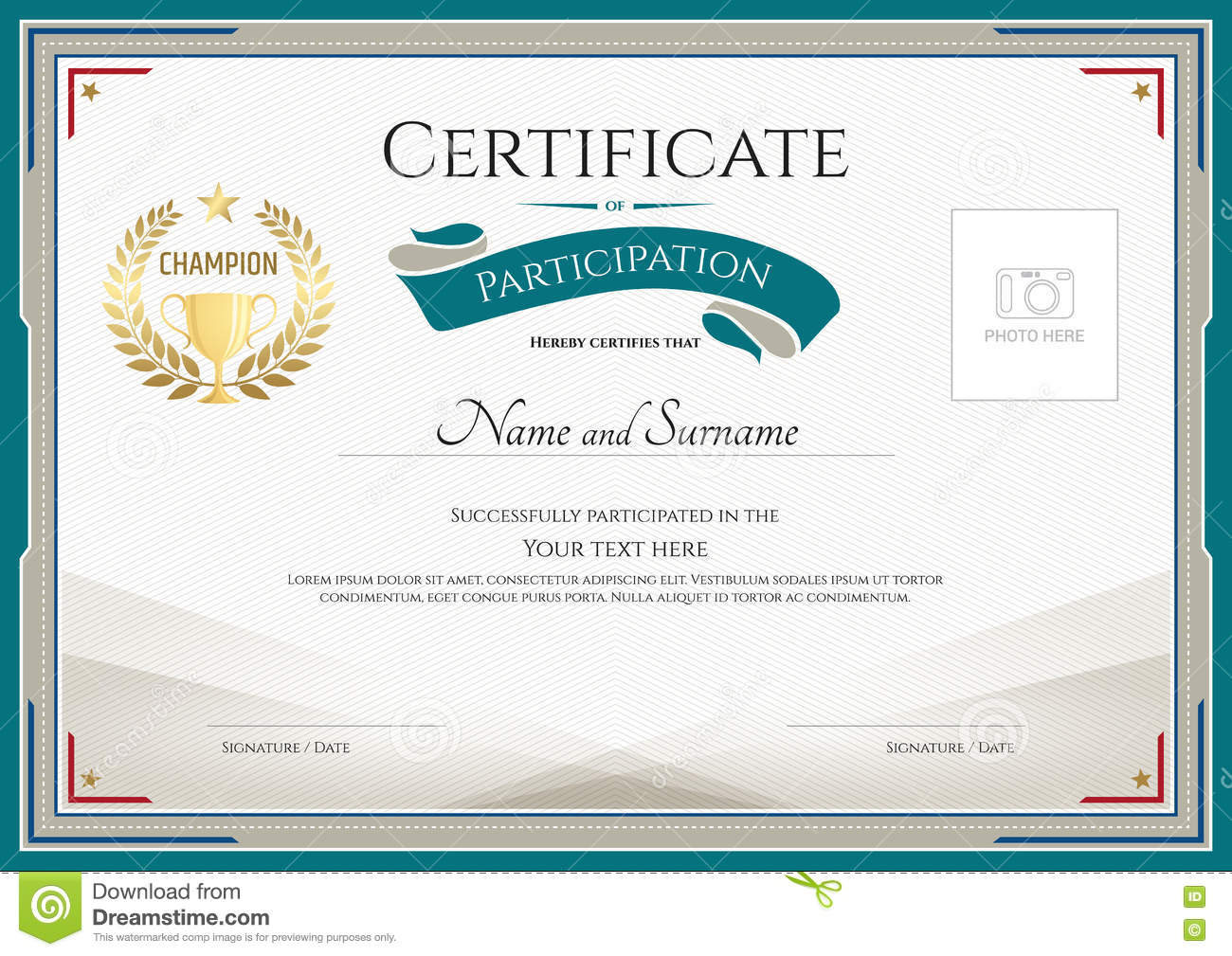 certificate of participation template with green broder gold tr