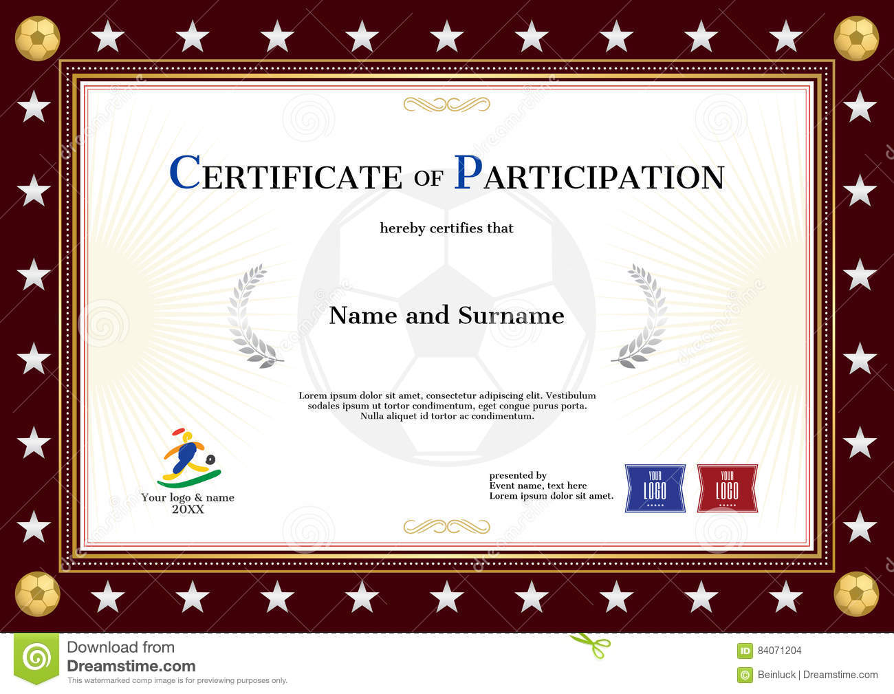 Certificate Of Participation Template In Sport Theme For Footbal – Certificate of Participation Template