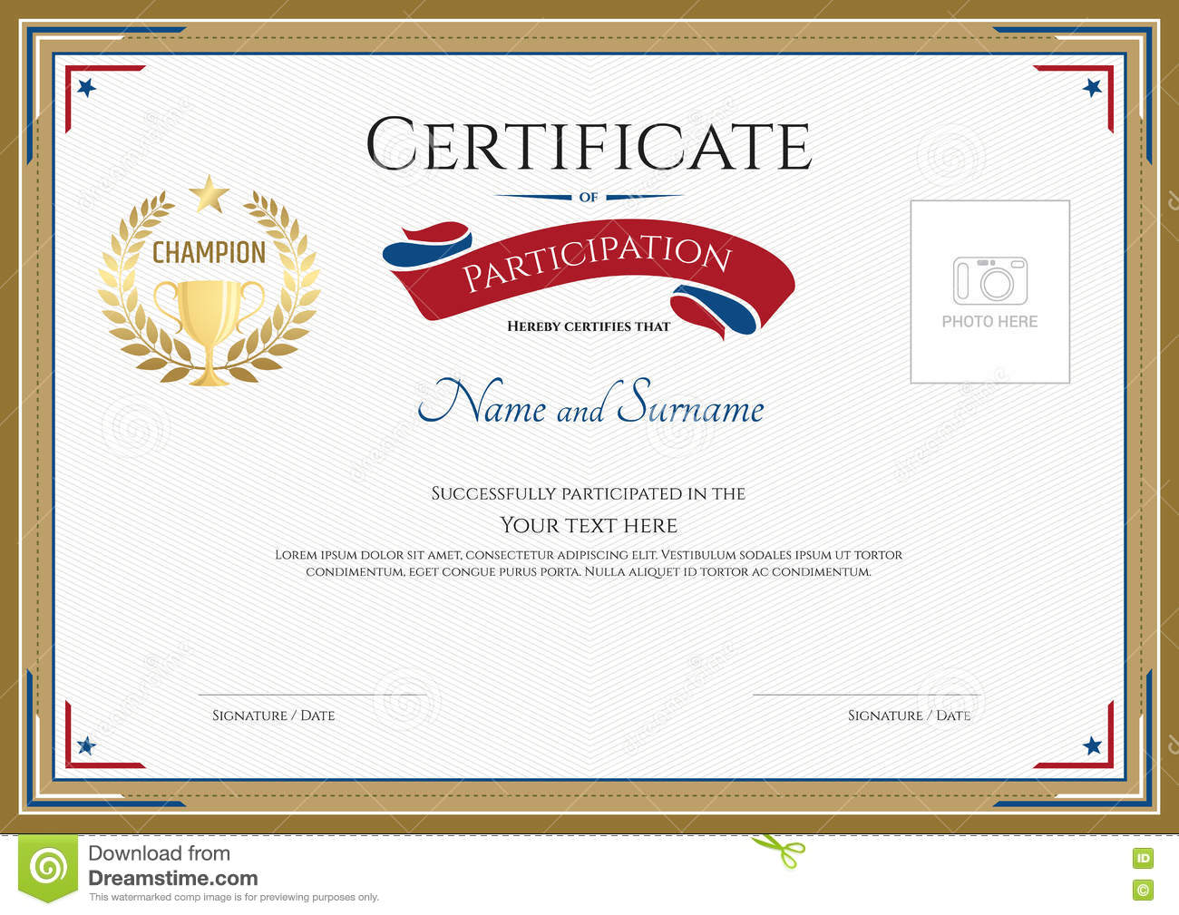 Certificate Of Participation Template In Sport Theme. Royalty Free Vector  Certificate Of Participation Free Template