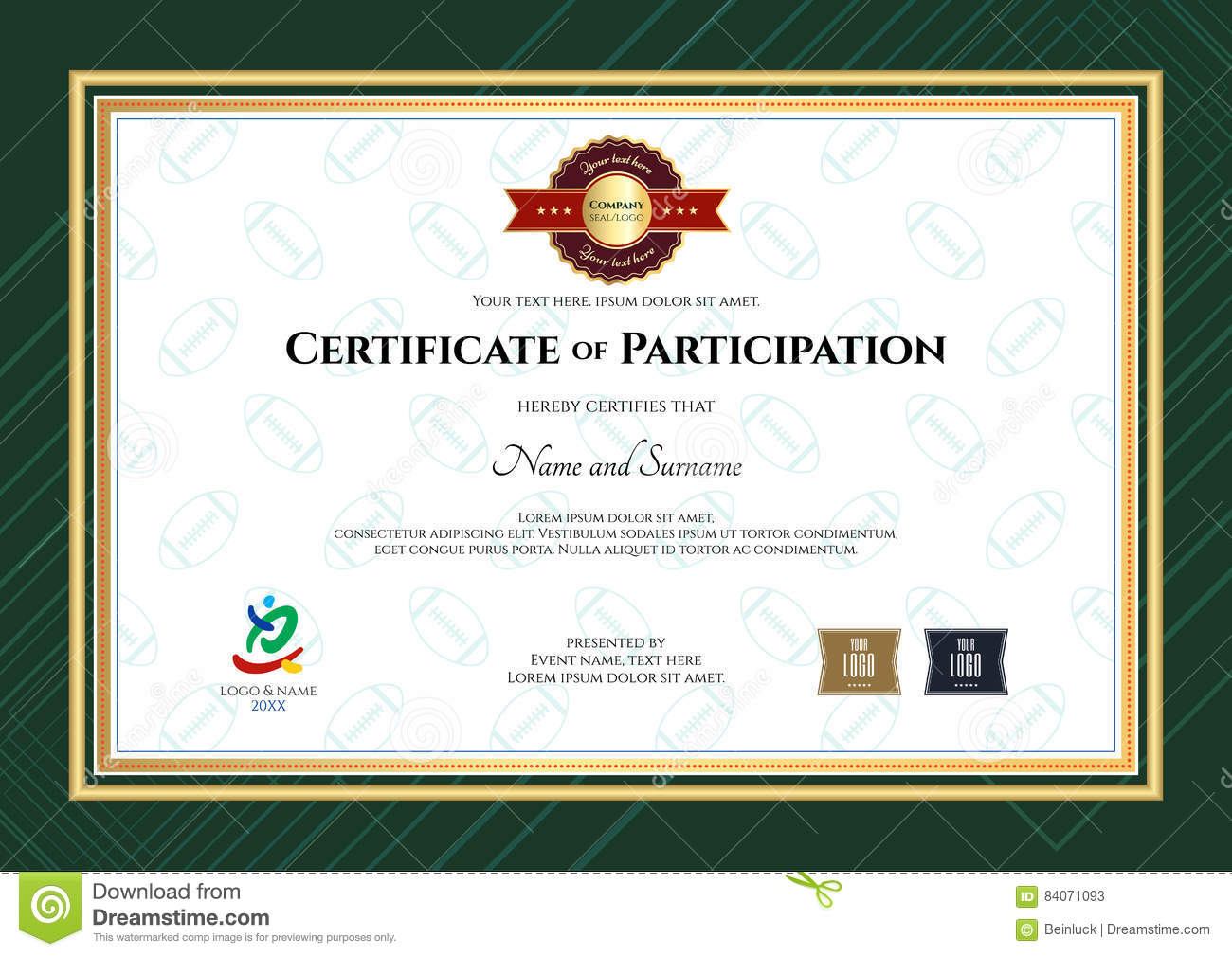 Certificate Of Participation Template In Sport Theme With Rugby – Certificate of Participation Template