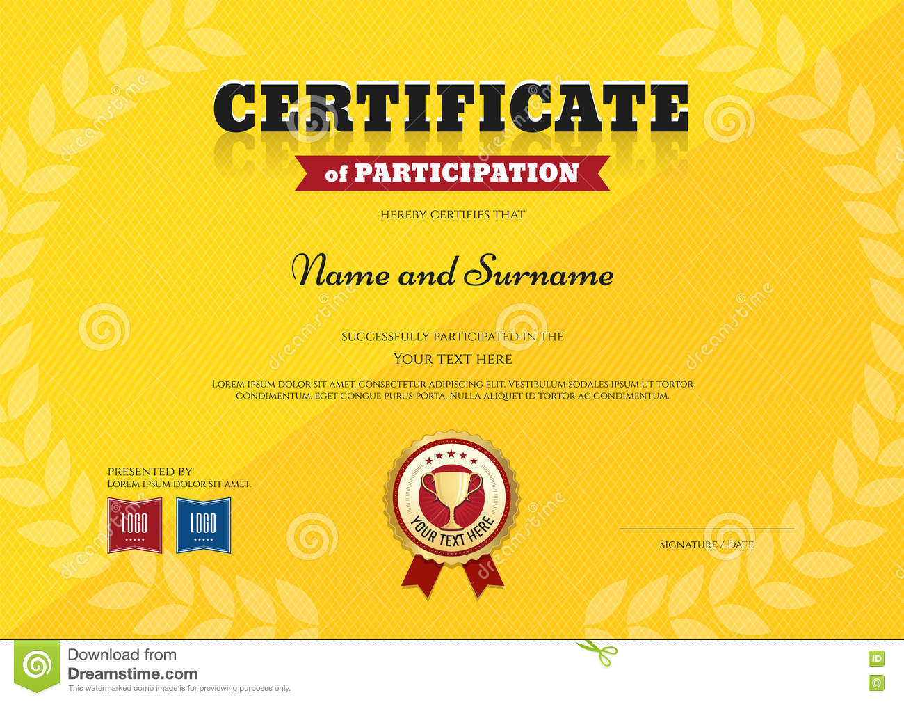 Certificate Of Participation Template In Sport Yellow Theme  Design Of Certificate Of Participation