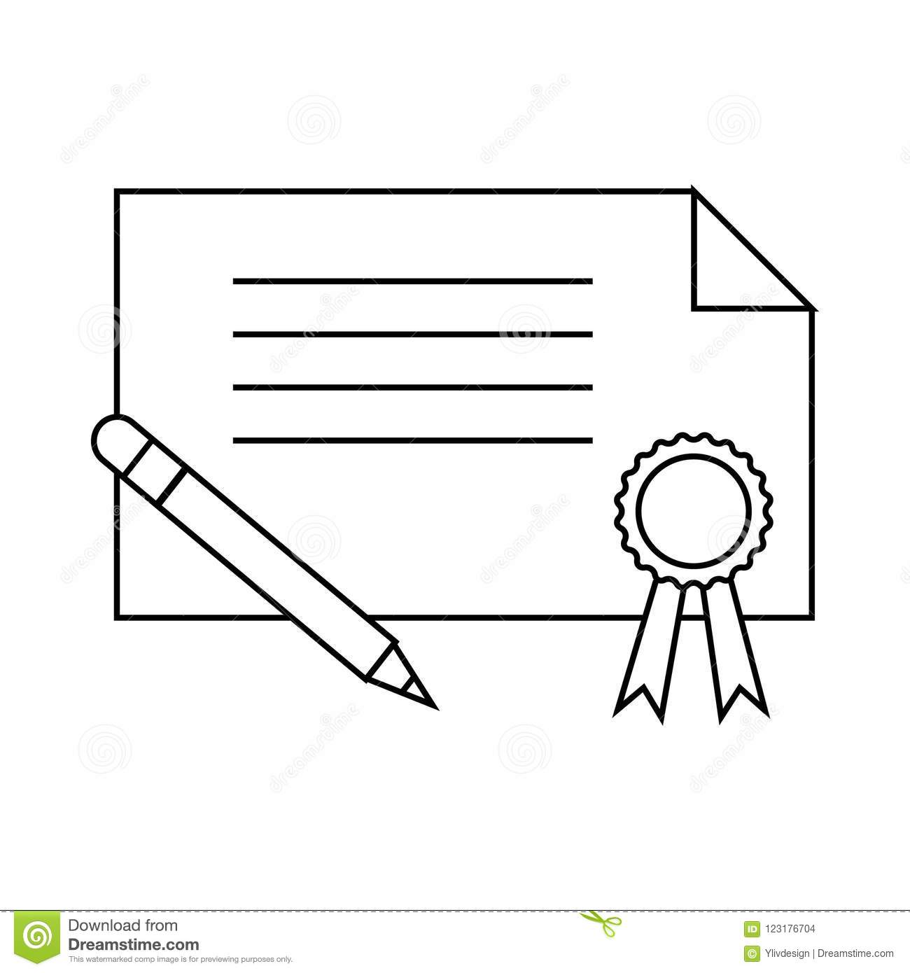 certificate and pen icon outline style stock illustration