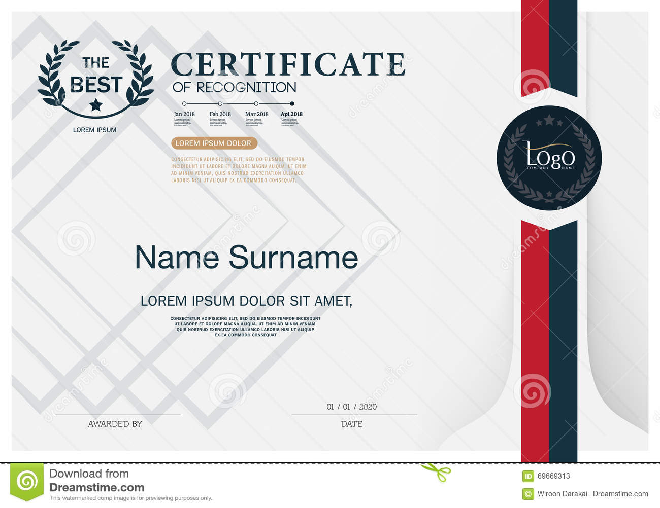 Certificate OF RECOGNITION Frame Design Template Layout Template In - Certificate of recognition template
