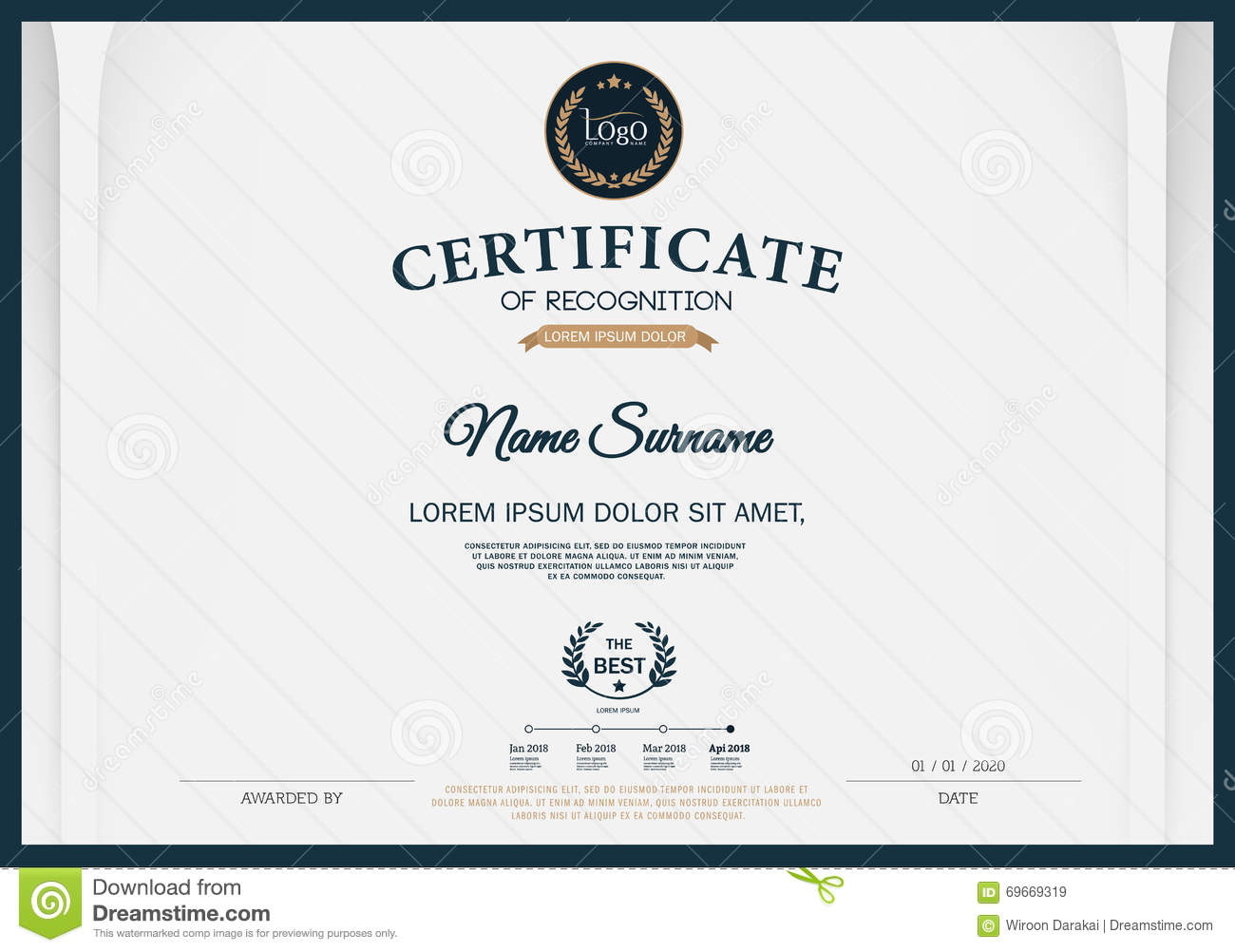 Certificate OF RECOGNITION Frame Design Template Layout Template In