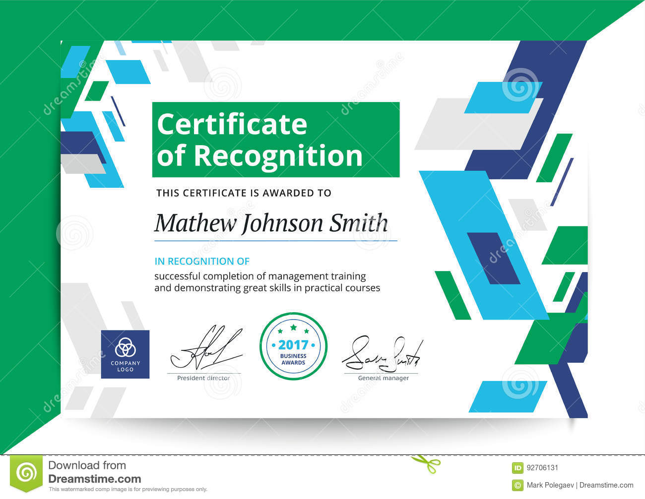 certificate of recognition template in modern design business d