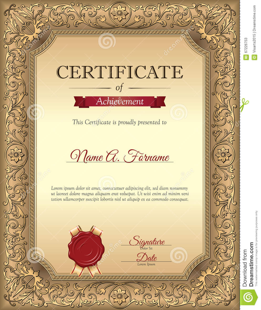 Certificate Of Recognition Template With Vintage Floral Frame Stock