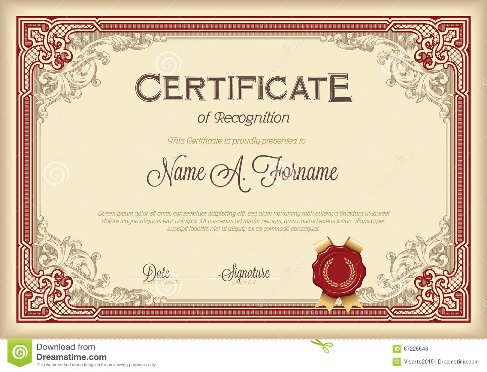 Certificate Of Recognition Vintage Floral Frame. Stock Vector - Image ...