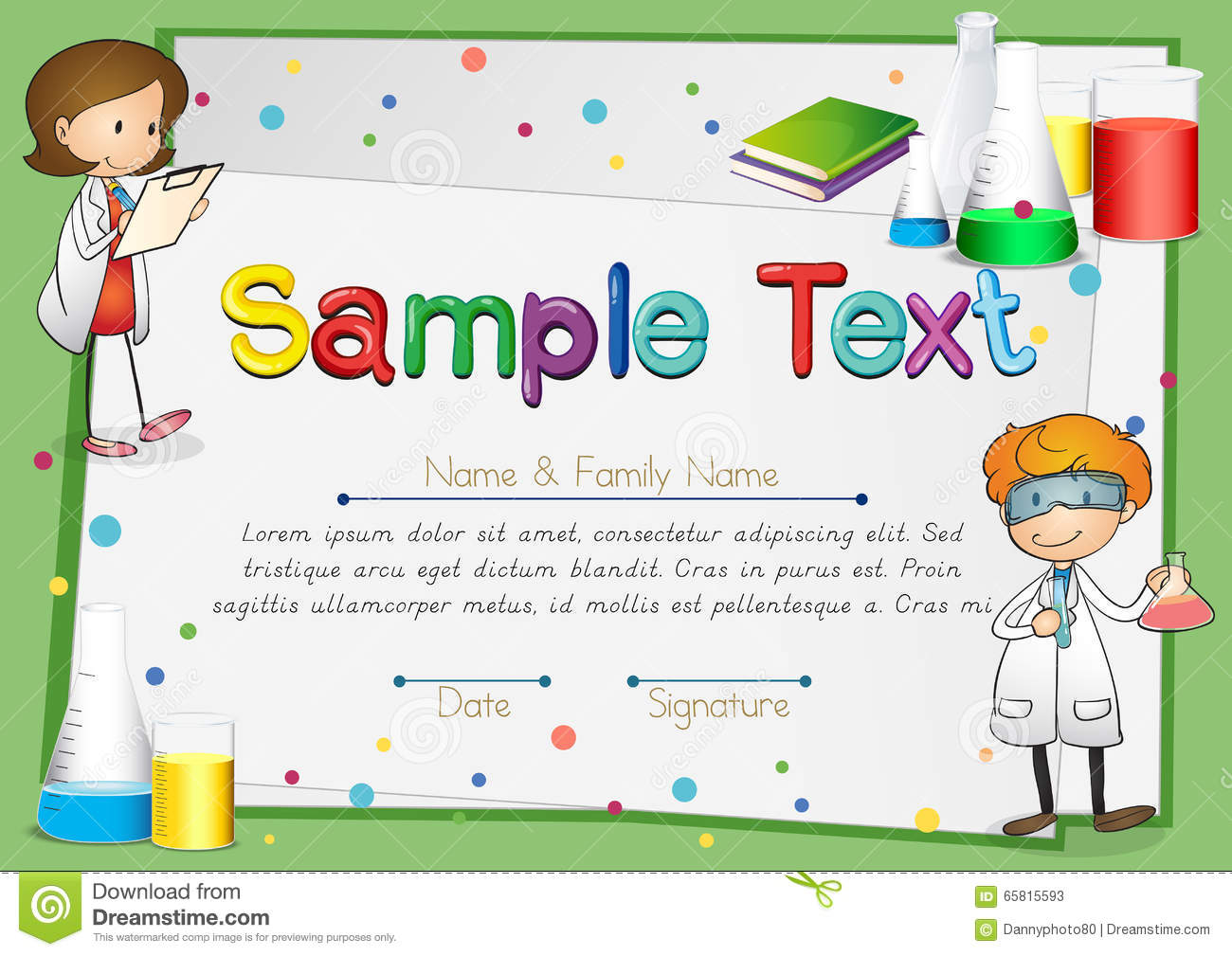 Certificate with scientists background stock vector image 65815593 royalty free vector download certificate with scientists yadclub Gallery