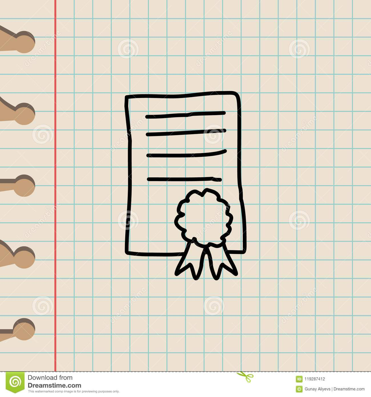 certificate sketch icon element of education icon for mobile