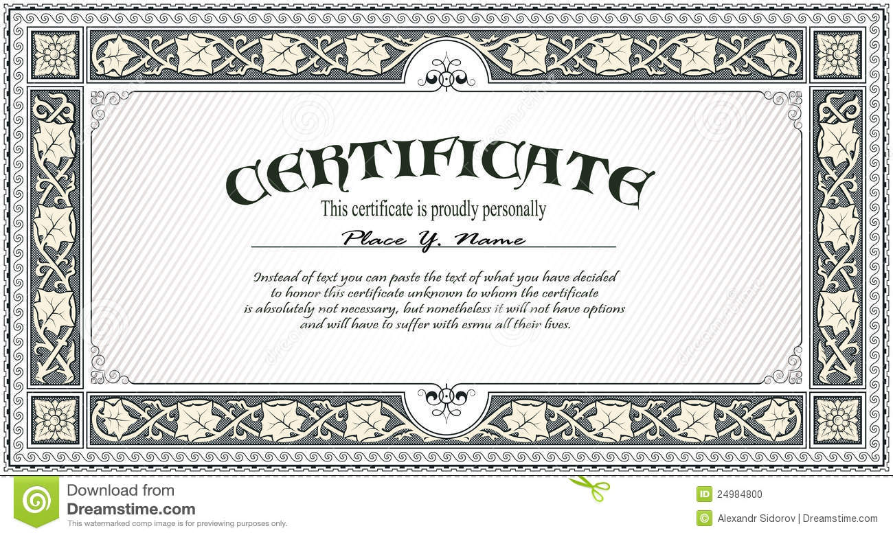 Certificate Template Stock Photo - Image: 24984800
