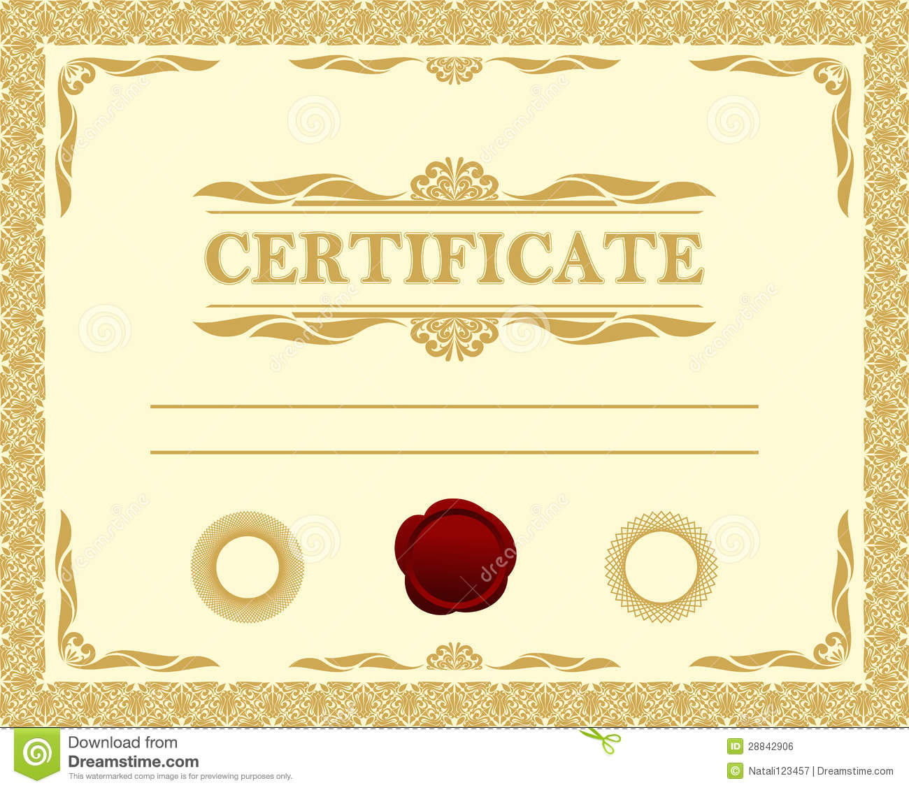 Certificate template. stock vector. Illustration of badge ...