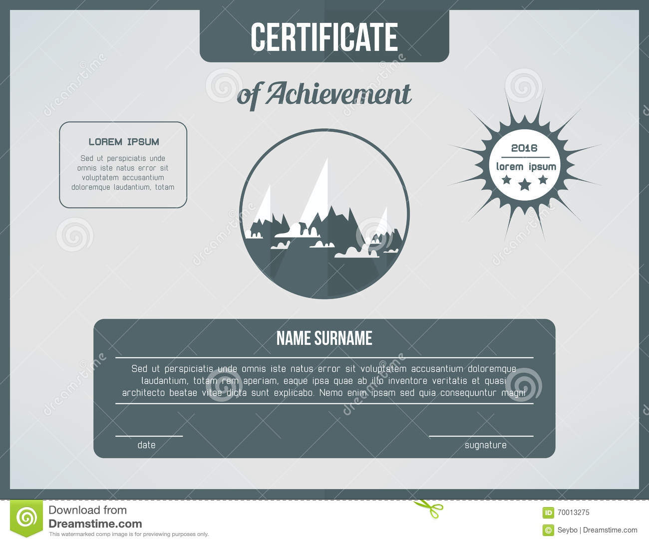 certificate template for achievement gray certificate design with