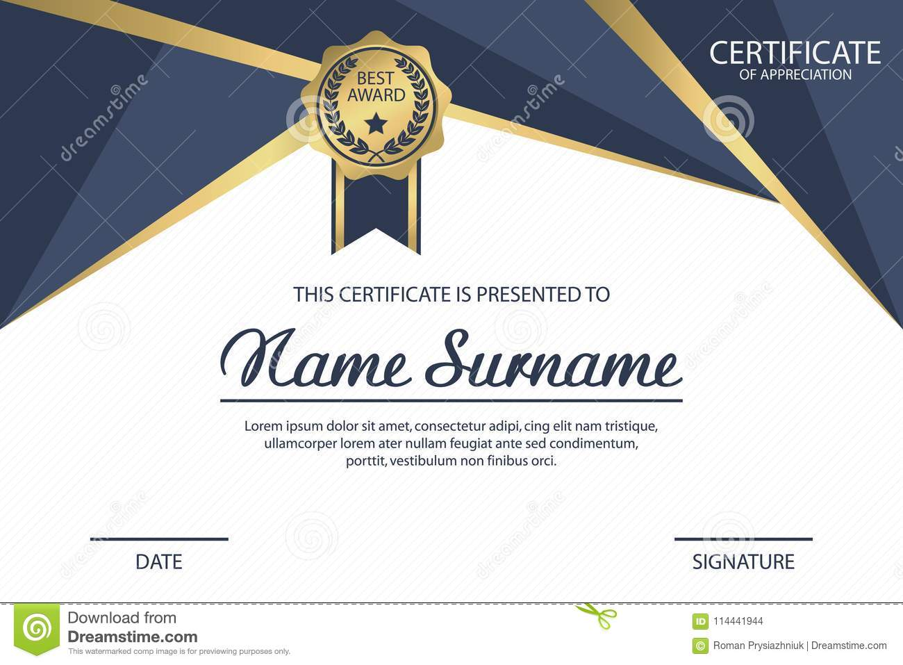 certificate template appreciation diploma award with medal vector