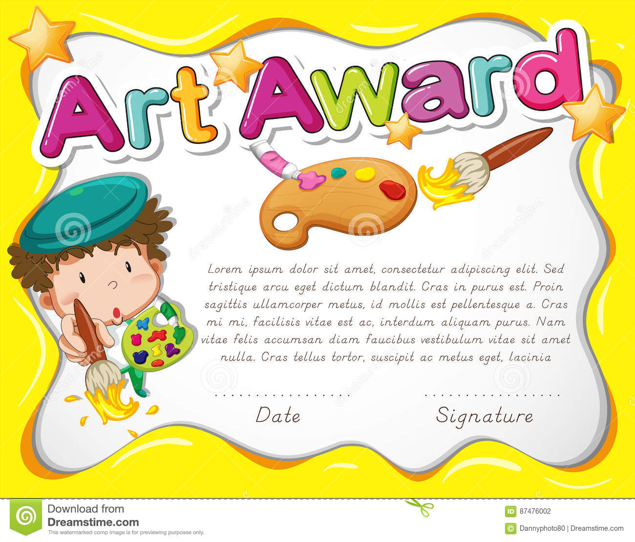 Certificate Template With Artist And Watercolor Stock Vector