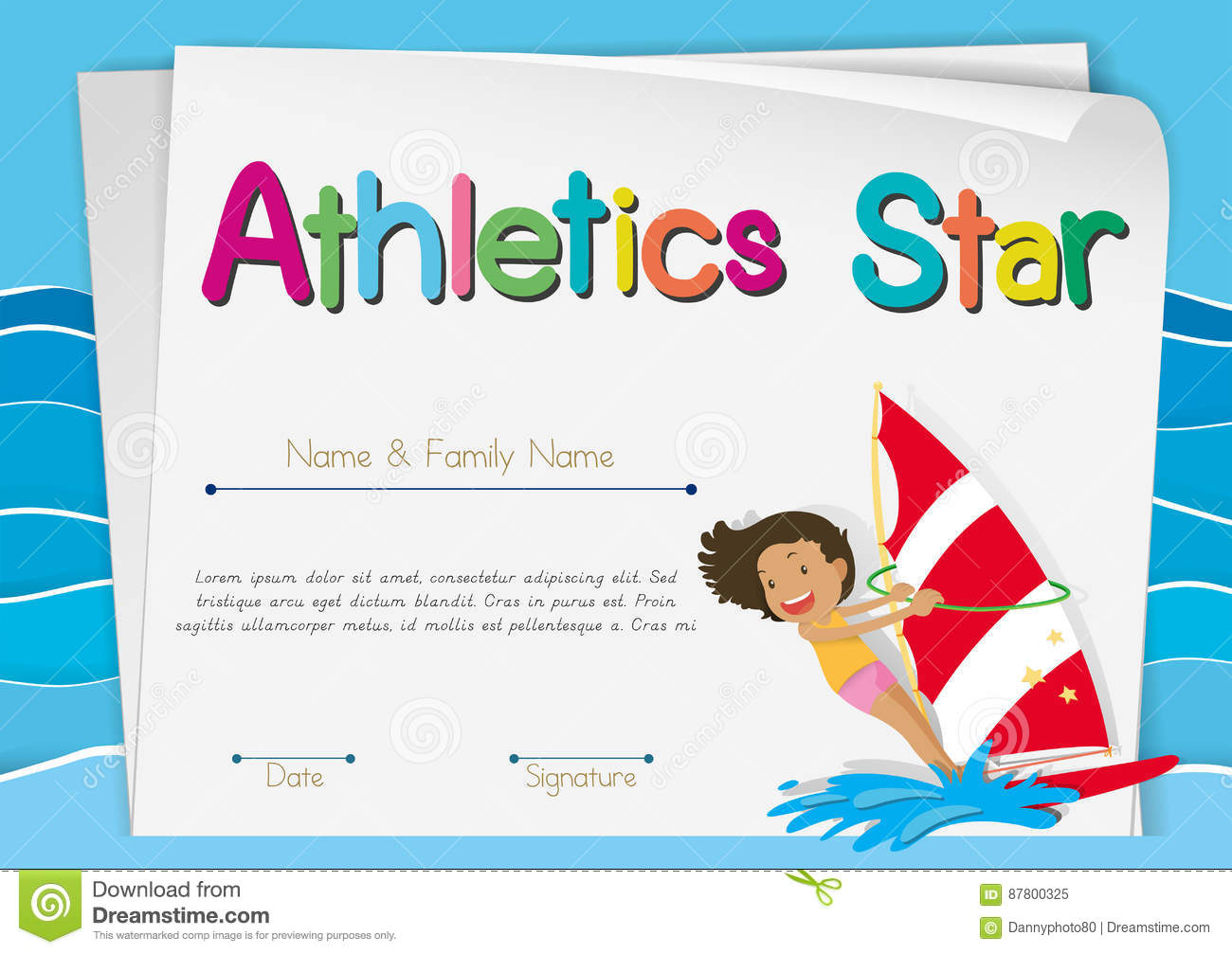 Certificate Template For Athletics Star Stock Vector Illustration