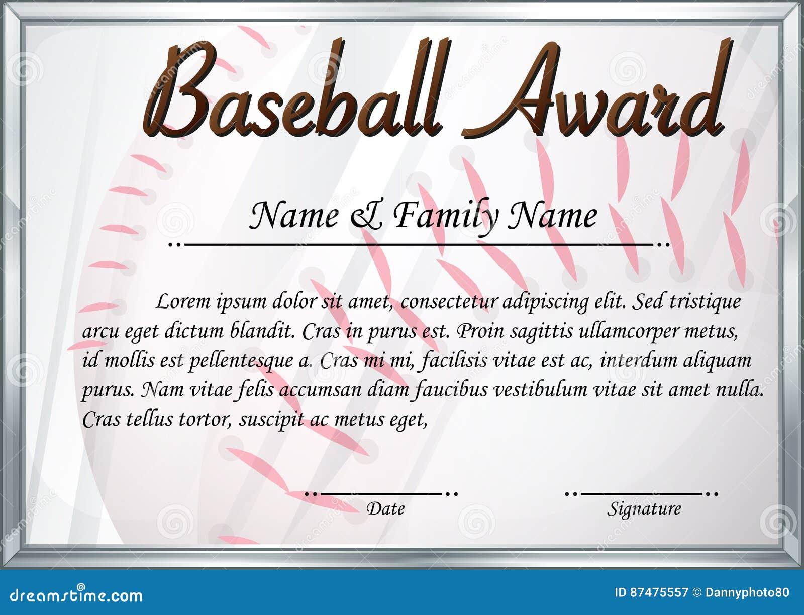 Certificate Template For Baseball Award Stock Vector Illustration