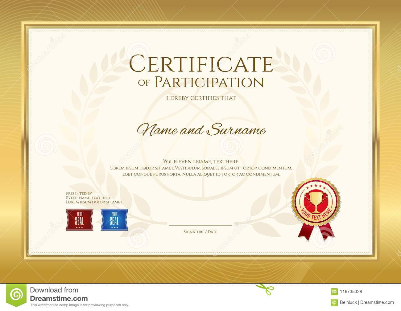 certificate template in basketball sport theme with gold border