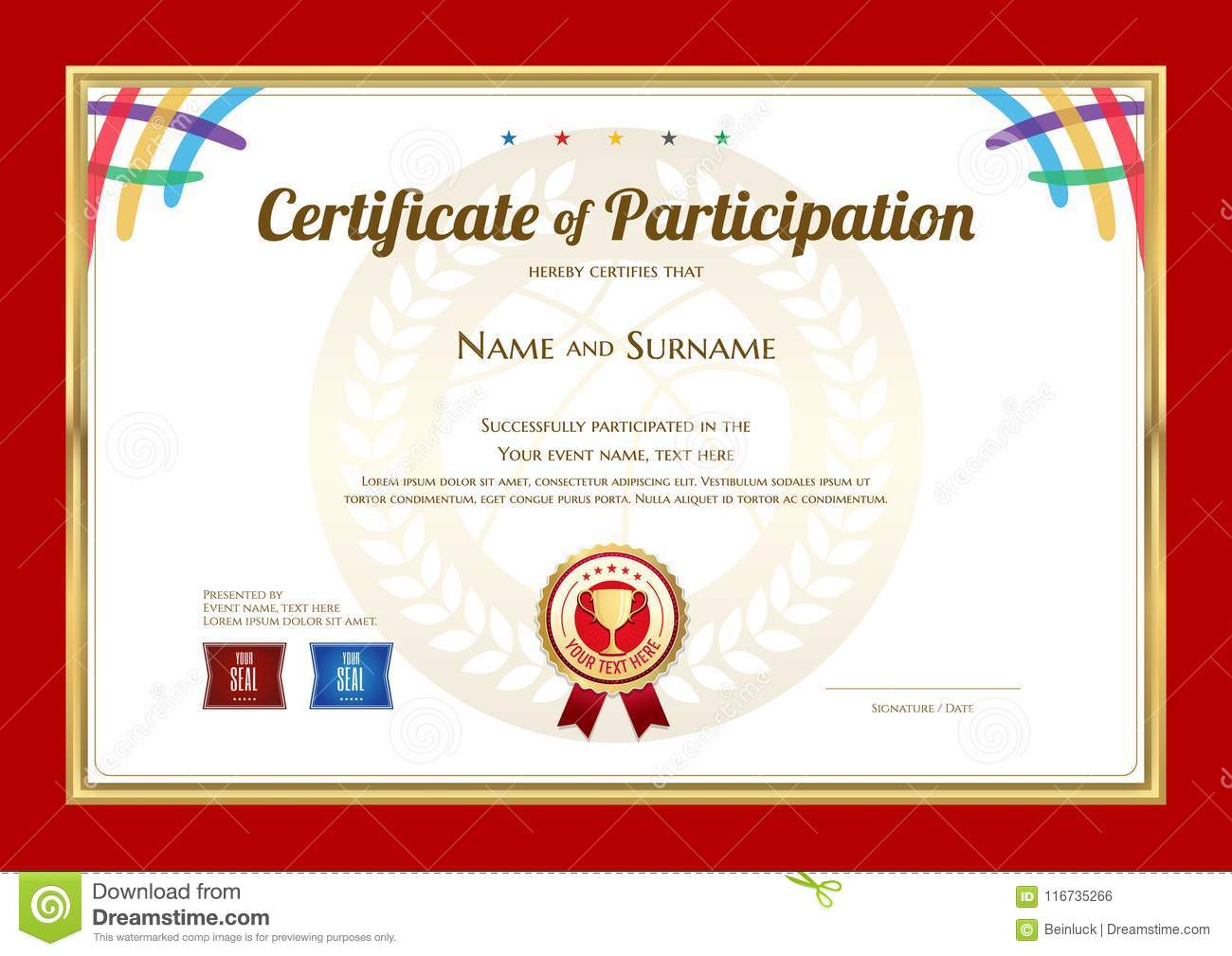 certificate template in basketball sport theme with sport color