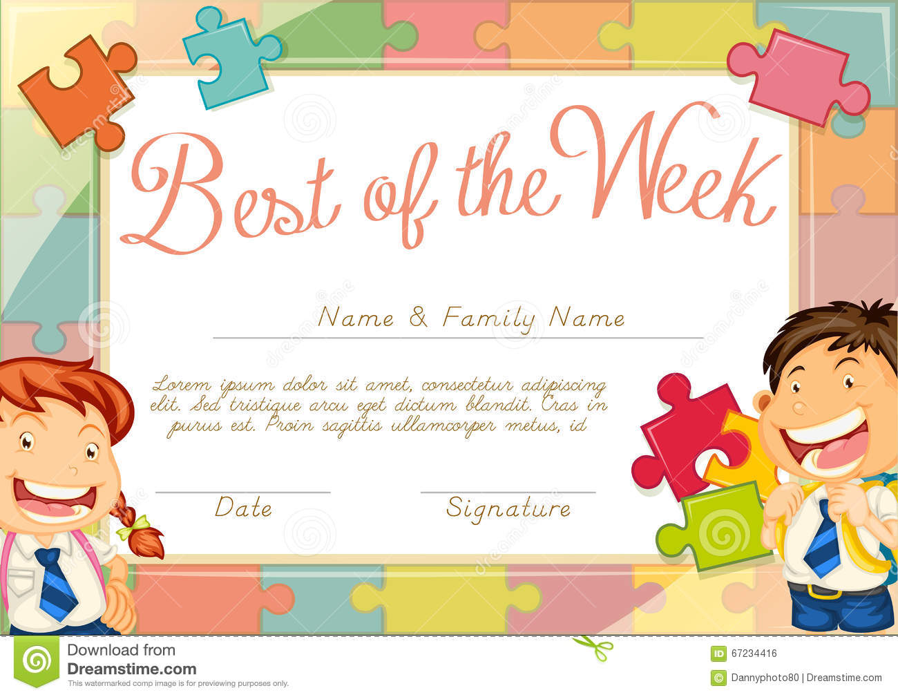 certificate template with children background stock