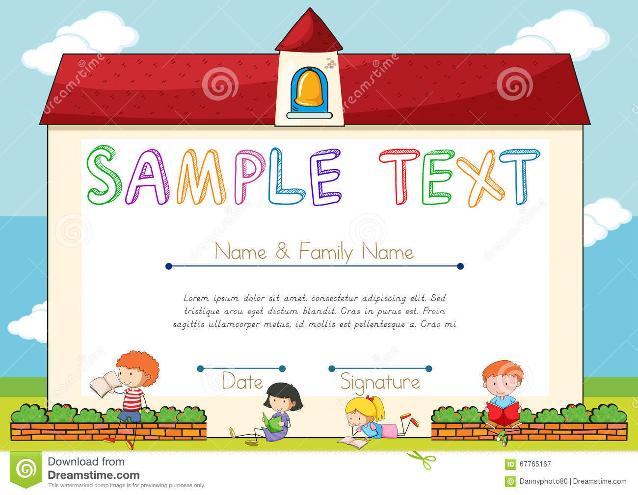 Certificate Template With Children On Background Stock Vector
