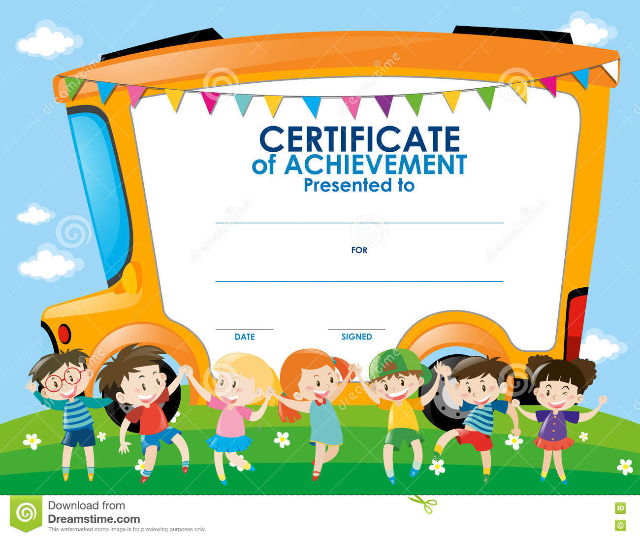 Toilet Design Certificate Template With Children And School Bus Stock