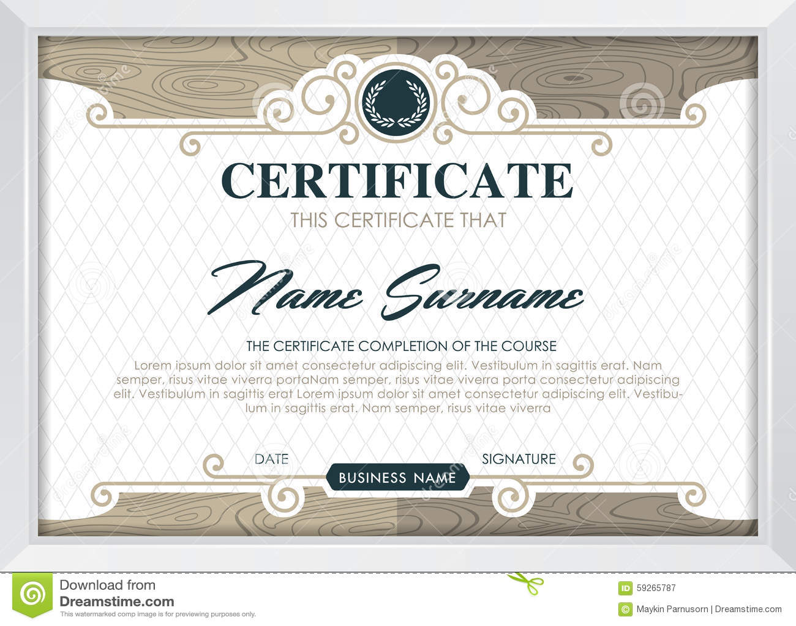 Certificate Stock Vector Image 59265787