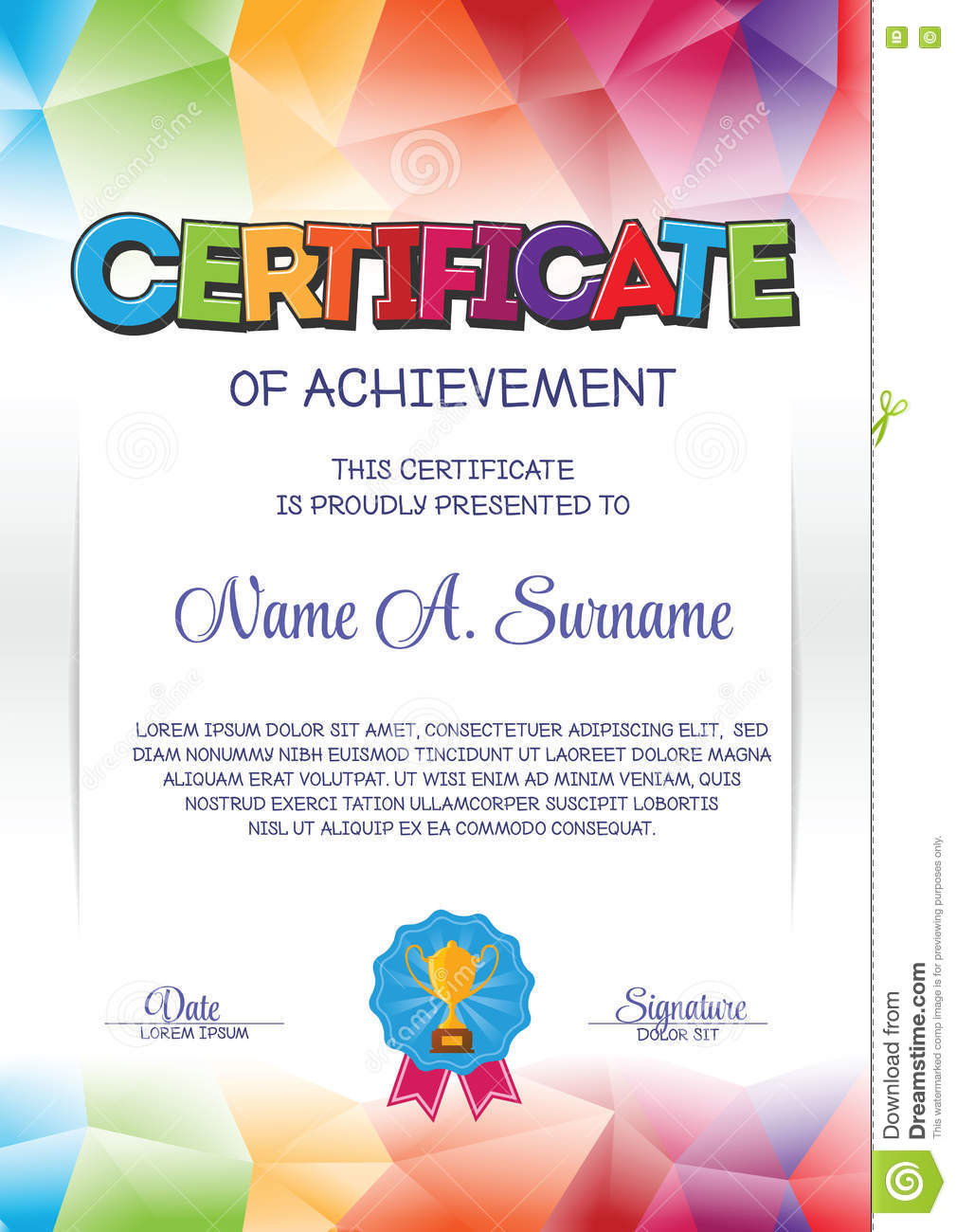 Certificate Template With Colorful Frame For Children ...